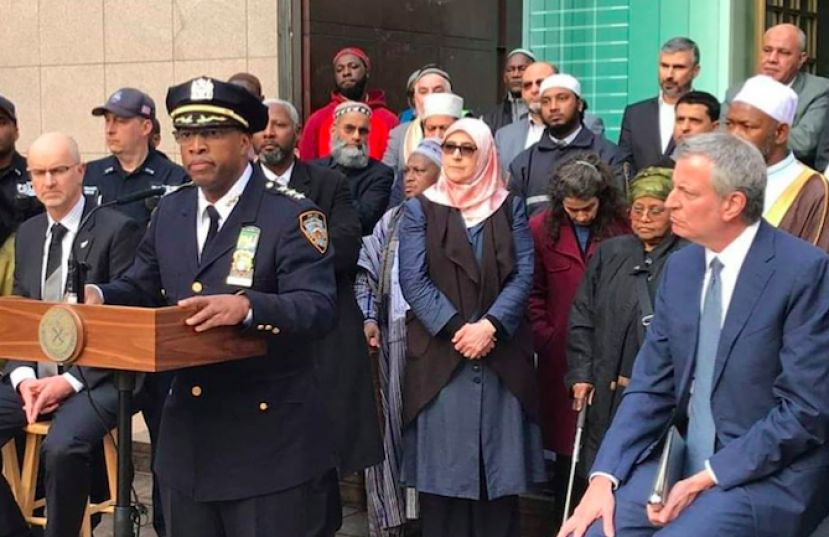 Mayor Bill de Blasio and NYPD Chief Harrison Visited Muslim Community after the Terror Attack in New Zealand