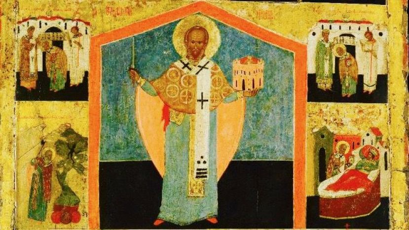 Saint Nicholas depicted by an unknown Albanian artist in the 15th Century. (St. Nicholas Center via National Museum of Medieval Art in Korca, Albania)