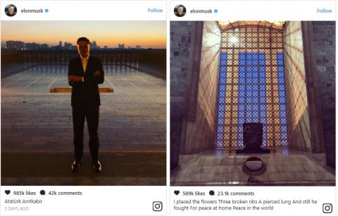 Elon Musk Just Got 1 Million Likes for An Instagram Photo Taken at A Turkish Memorial