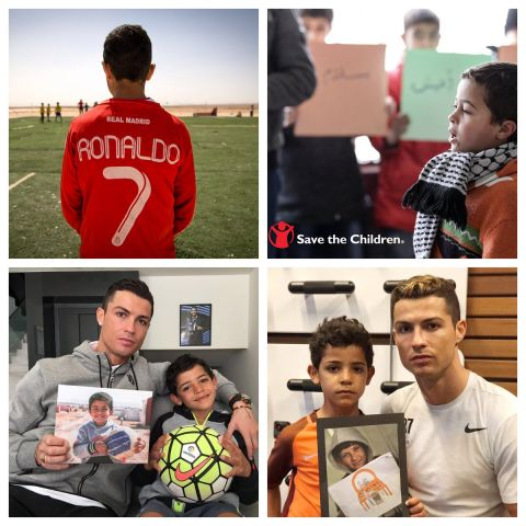 Christiano Ronaldo with the son of the Syrian refugee who was tripped over by a Hungarian journalist