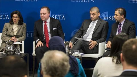 "WASHINGTON, USA - DECEMBER 12: (from left to right) Mona Yacoubian, Andrew Tabler, Hassan Hassan, and Kadir Ustun attend a panel discussion on ""The Geneva Process: Toward a Political Solution in Syria"" hosted by SETA DC in Washington, USA on December 12, 2017. ( Samuel Corum - Anadolu Agency )"