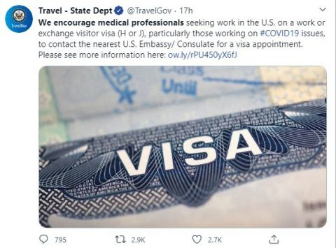 Visa Announcement Concerning Worldwide Healthcare Professionals from the U.S.