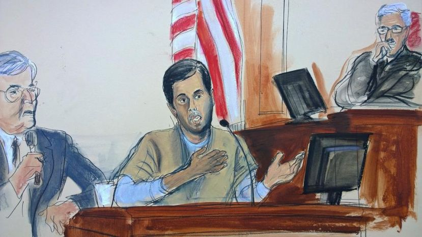 In a courtroom sketch, Turkish-Iranian gold trader Reza Zarrab (center) testifies before Judge Richard Berman (right) that he helped Iran to evade US economic sanctions with help from banker Mehmet Hakan Atilla, Wednesday, November 29, 2017. ( AP )