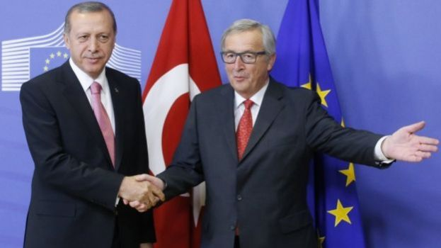 Mr Erdogan, pictured with European Commission President Jean Claude Juncker, told the BBC most Turks did not want the EU