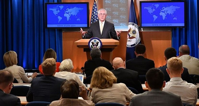 A handout photo made available by United States Department of State shows U.S. Secretary of State Rex Tillerson addressing reporters at the Department Press Briefing, at the U.S. Department of State in Washington, D.C., August 1, 2017.