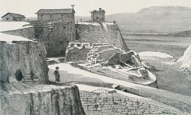 An engraving portraying the Trojan walls during Heinrich Schliemann's excavations.