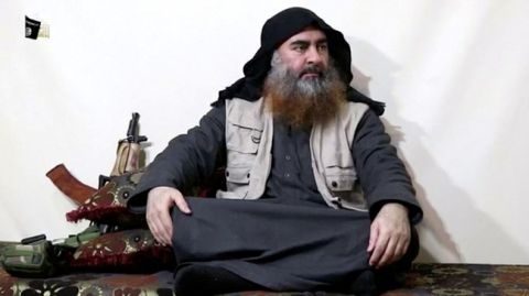 FILE PHOTO: A man purported to be the reclusive leader of the militant Islamic State Abu Bakr al-Baghdadi has made what would be his first public appearance at a mosque in the centre of Iraq's second city, Mosul, according to a video recording posted on the Internet on July 5, 2014, in this still image taken from video. Social Media Website via Reuters TV/File Photo