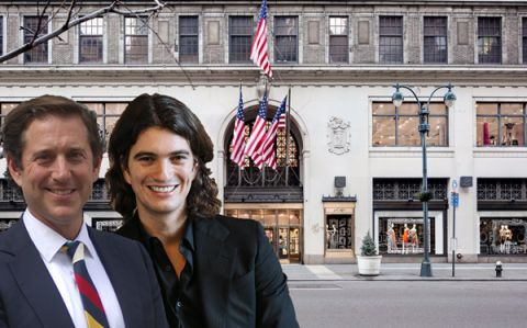 From left: Richard Baker, Adam Neumann and Lord & Taylor Fifth Avenue