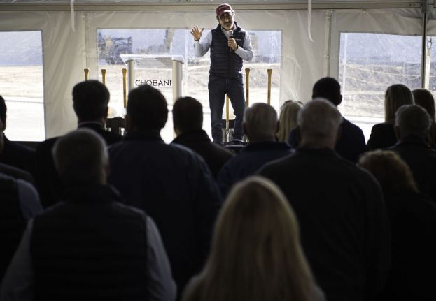 Founder and CEO Hamdi Ulukaya addresses the crowd during the groundbreaking ceremony for the new Research and Development building Thursday at Chobani in Twin Falls.