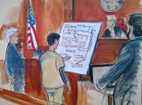 In a courtroom sketch Judge Richard Berman (second from right) and US Attorney Sidhardha Kamarju (far right) listen as Turkish-Iranian gold trader Reza Zarrab, second from left, with an unidentified interpreter (far left) describe a scheme using a diagram he drew, outlining how he helped Iran to evade US economic sanctions, Wednesday November 29, 2017. ( AP )