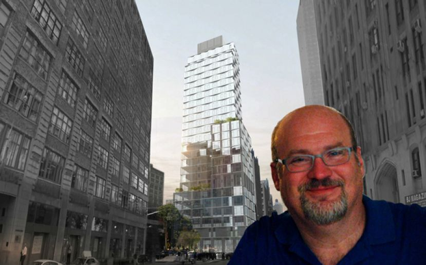 Louis Madigan and a previous rendering of 111 Varick (Credit: Twitter and S9 Architecture)