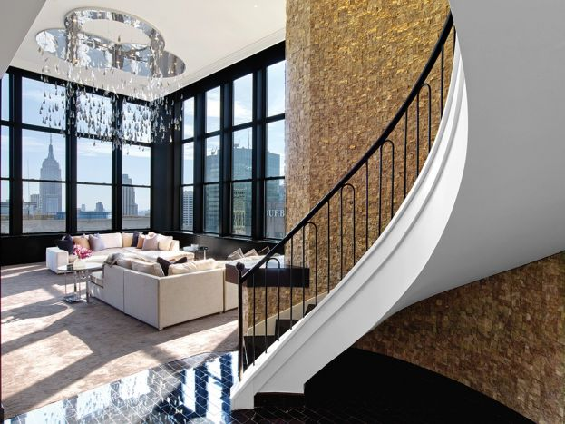 The New York Palace Hotel's Champagne Suite featuring AKDO Split-Face Custom Mosaic
