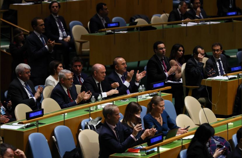 Foreign Minister Cavusoglu says: Today, the international community once again showed that dignity and sovereignty are not for sale.#Turkey #Palestine and all other co-sponsors thank every country that supported #UNGA resolution on Palestine.